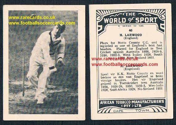 1930's South African Tobacco Cape Town World of Sport cricket card 40 Harold Larwood Notts CCC